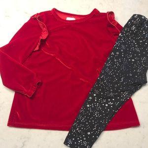 BCBGirls 3T Crushed Velvet & star leggings outfit